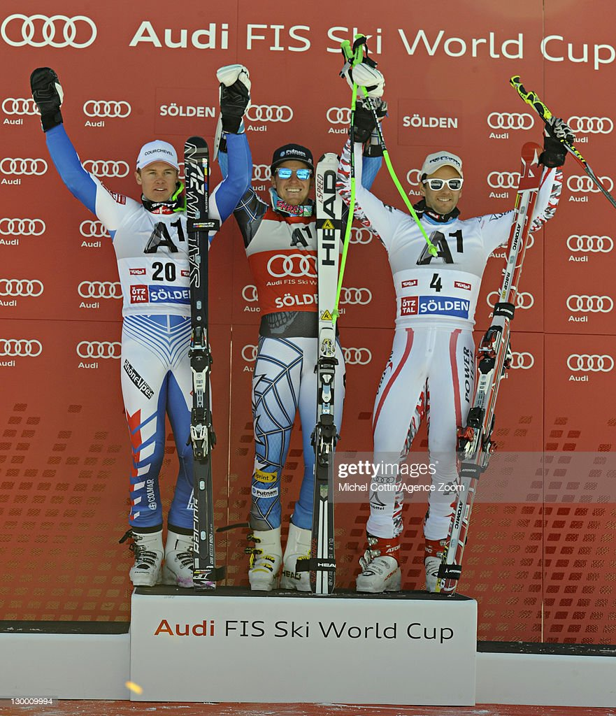 <a gi-track='captionPersonalityLinkClicked' href=/galleries/search?phrase=Ted+Ligety&family=editorial&specificpeople=580537 ng-click='$event.stopPropagation()'>Ted Ligety</a> of the USA takes 1st place, Alexis Pinturault of France takes 2nd place, <a gi-track='captionPersonalityLinkClicked' href=/galleries/search?phrase=Philipp+Schoerghofer&family=editorial&specificpeople=5589538 ng-click='$event.stopPropagation()'>Philipp Schoerghofer</a> of Austria takes 3rd place during the Audi FIS Alpine Ski World Cup Men's Giant Slalom on October 23, 2011 in Soelden, Austria.