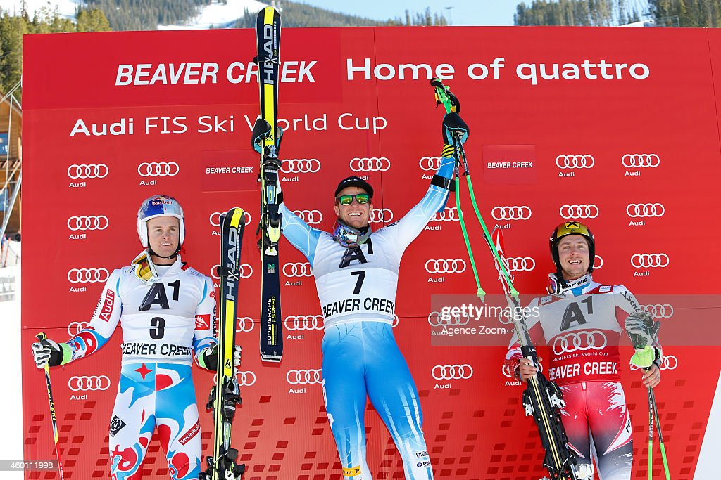 Ted Ligety of the USA takes 1st place ,Alexis Pinturault of France takes 2nd place, Marcel Hirscher of Austria takes 3rd Place during the Audi FIS Alpine Ski World Cup Men's Giant Slalom on December 07, 2014 in Beaver Creek, Colorado.