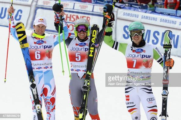 Ted Ligety of the USA takes 1st place and wins the overall giant slalom World Cup globe Alexis Pinturault of France takes 2nd place and is third in...