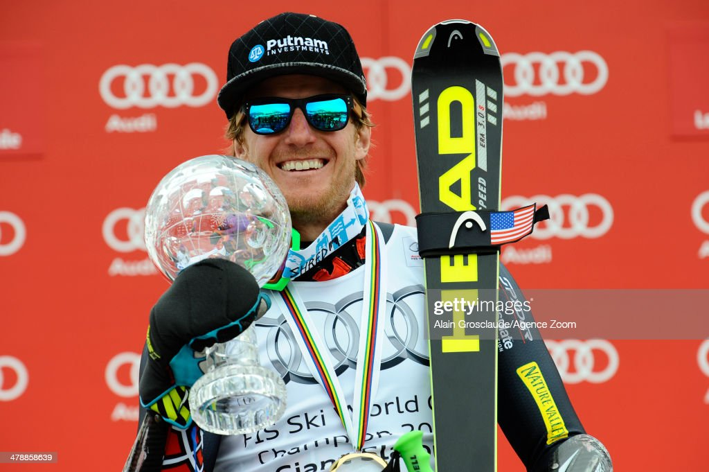 Ted Ligety of the USA takes 1st place and wins the overall giant slalom World Cup globe during the Audi FIS Alpine Ski World Cup Finals Men's Giant Slalom on March 15, 2014 in Lenzerheide, Switzerland.