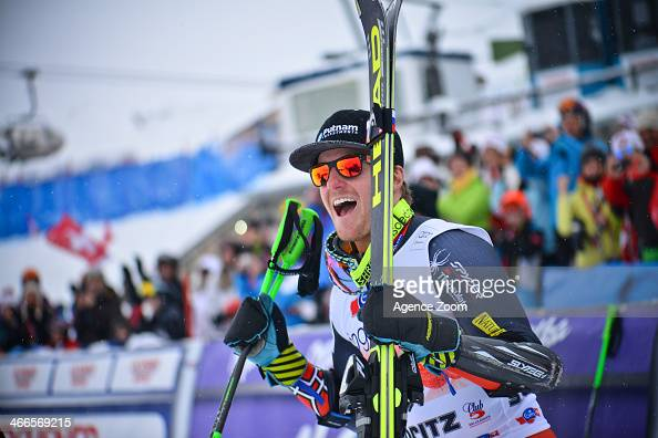 Ted Ligety of the USA takes 1st place during the Audi FIS Alpine Ski World Cup Men's Giant Slalom on February 02 2014 in St Moritz Switzerland