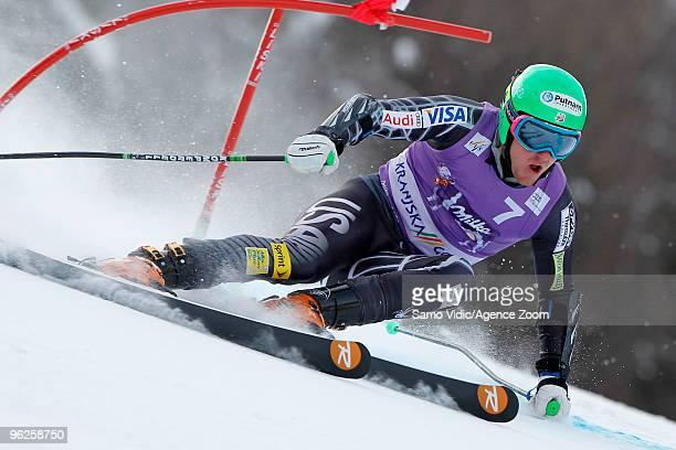 Ted Ligety of the USA takes 1st place during the Audi FIS Alpine Ski World Cup Men's Giant Slalom on January 29 2010 in Kranjska Gora Slovenia