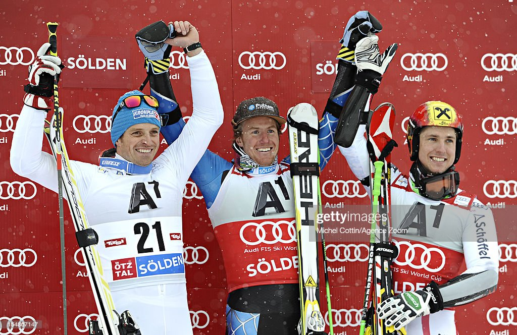 <a gi-track='captionPersonalityLinkClicked' href=/galleries/search?phrase=Ted+Ligety&family=editorial&specificpeople=580537 ng-click='$event.stopPropagation()'>Ted Ligety</a> of the USA takes 1st place, <a gi-track='captionPersonalityLinkClicked' href=/galleries/search?phrase=Manfred+Moelgg&family=editorial&specificpeople=876765 ng-click='$event.stopPropagation()'>Manfred Moelgg</a> of Italy takes 2nd place, <a gi-track='captionPersonalityLinkClicked' href=/galleries/search?phrase=Marcel+Hirscher&family=editorial&specificpeople=4784559 ng-click='$event.stopPropagation()'>Marcel Hirscher</a> of Austria takes 3rd place during the Audi FIS Alpine Ski World Cup Men's Giant Slalom on October 28, 2012 in Solden, Austria.