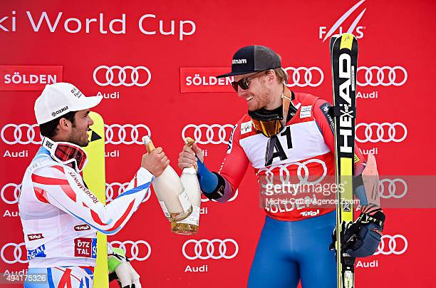 Ted Ligety of the USA takes 1st place Thomas Fanara of France takes 2nd place during the Audi FIS Alpine Ski World Cup Men's Giant Slalom on October...