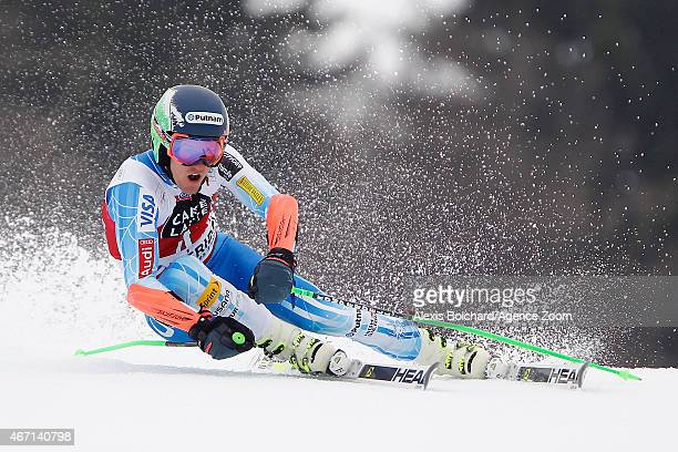 Ted Ligety of the USA takes 3rd place in the overall Giant Slalom World Cup during the Audi FIS Alpine Ski World Cup Finals Men's Giant Slalom on...