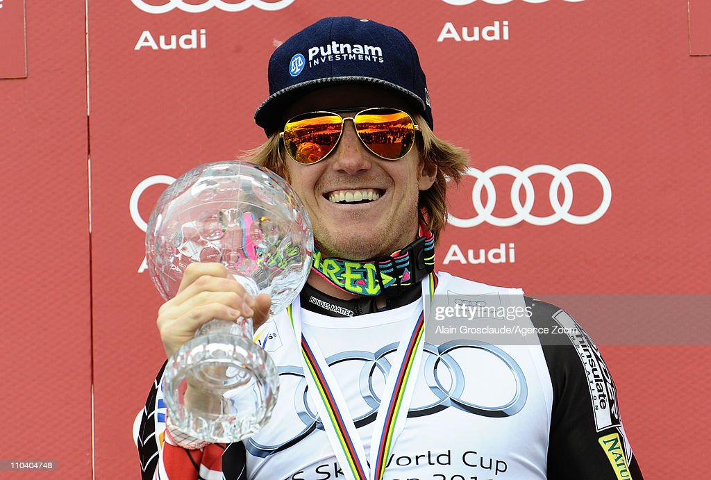 <a gi-track='captionPersonalityLinkClicked' href=/galleries/search?phrase=Ted+Ligety&family=editorial&specificpeople=580537 ng-click='$event.stopPropagation()'>Ted Ligety</a> of the USA wins the Overall Giant Slalom World Cup during the Audi FIS Alpine Ski World Cup Men's Giant Slalom on March 18, 2011 in Lenzerheide, Switzerland.