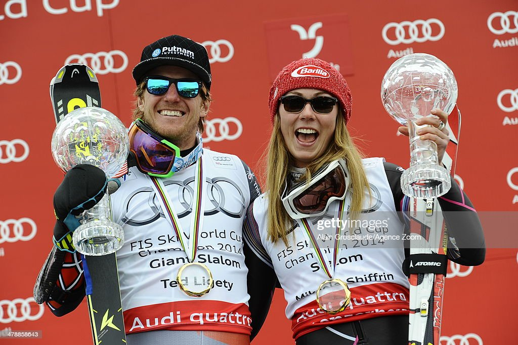 <a gi-track='captionPersonalityLinkClicked' href=/galleries/search?phrase=Ted+Ligety&family=editorial&specificpeople=580537 ng-click='$event.stopPropagation()'>Ted Ligety</a> of the USA wins the overall giant slalom World Cup globe and <a gi-track='captionPersonalityLinkClicked' href=/galleries/search?phrase=Mikaela+Shiffrin&family=editorial&specificpeople=7472698 ng-click='$event.stopPropagation()'>Mikaela Shiffrin</a> of the USA wins the overall slalom World Cup globe during the Audi FIS Alpine Ski World Cup Finals on March 15, 2014 in Lenzerheide, Switzerland.