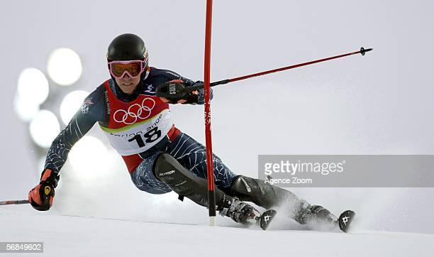 Ted Ligety of United States competes in the second run of the Slalom section of the Mens Combined Alpine Skiing competition on Day 4 of the 2006...