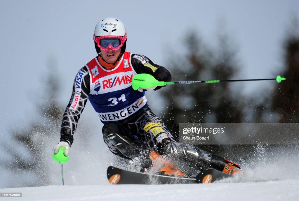 Ted Ligety of USA in action during the FIS Ski World Cup Men's Super Combined Slalom on January 15, 2010 in Wengen, Switzerland.
