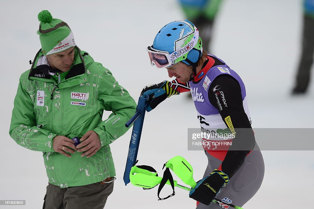 US Ted Ligety reacts after missing a gate during the first run of the men's slalom at the 2013 Ski World Championships in Schladming, Austria on February 17, 2013.