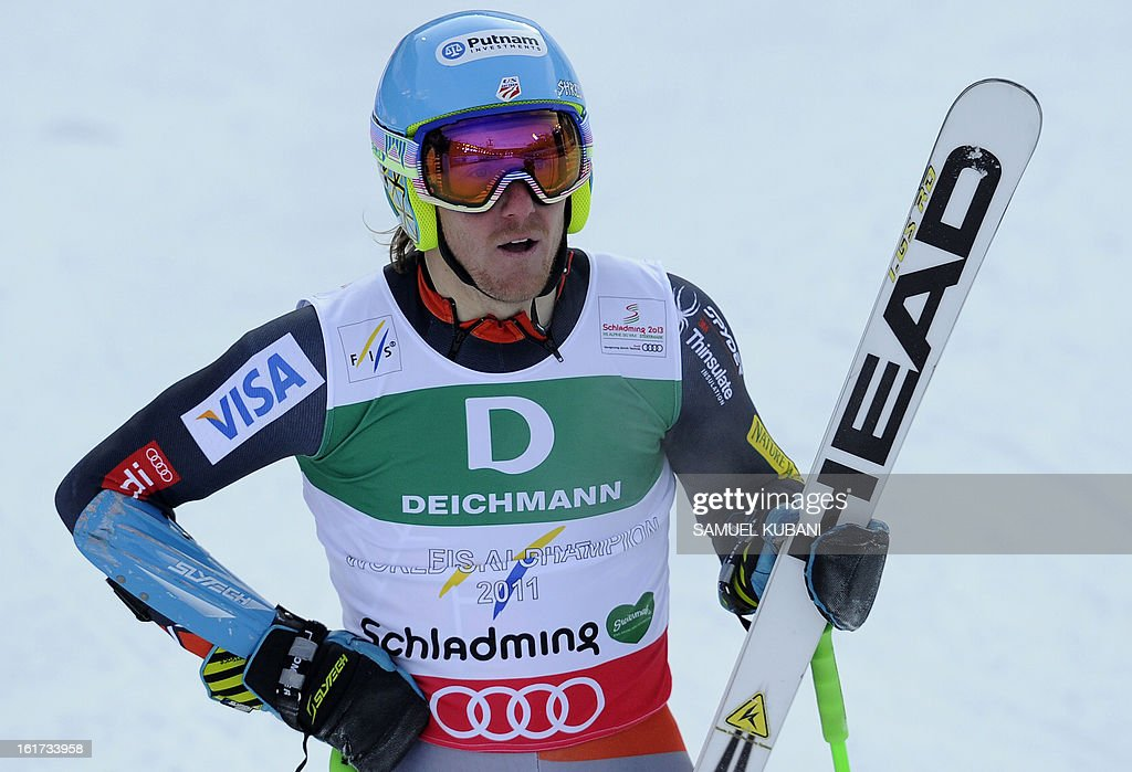 US Ted Ligety reacts after the first run of the men's Giant slalom at the 2013 Ski World Championships in Schladming, Austria on February 15, 2013.