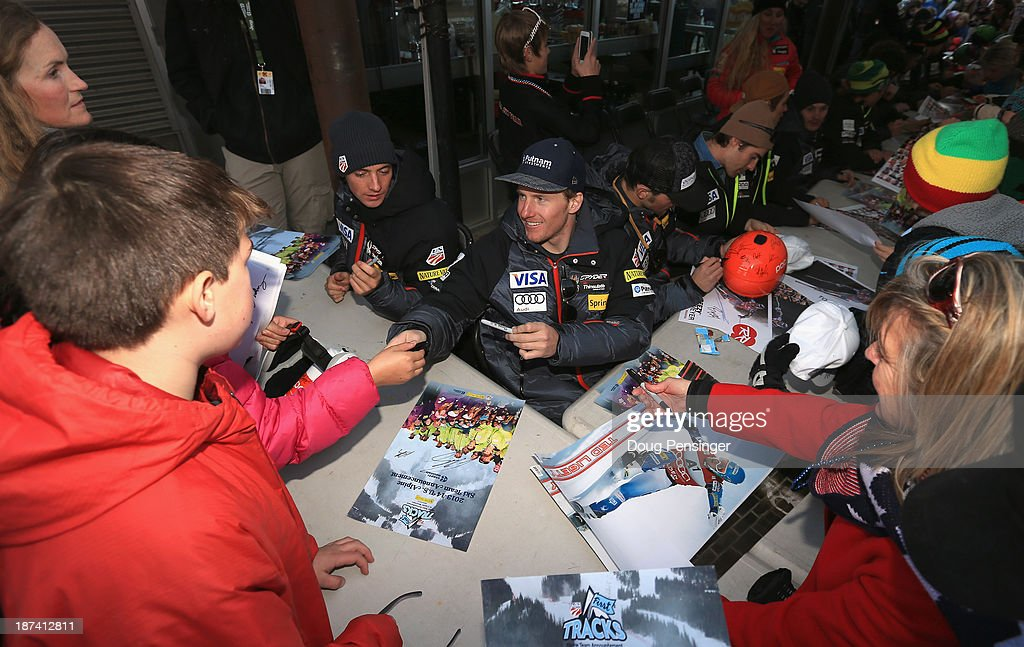 <a gi-track='captionPersonalityLinkClicked' href=/galleries/search?phrase=Ted+Ligety&family=editorial&specificpeople=580537 ng-click='$event.stopPropagation()'>Ted Ligety</a> (C) signs autographs for fans during the U.S. Alpine Ski Team Announcement and pep rally at Copper Mountain on November 8, 2013 in Copper Mountain, Colorado.