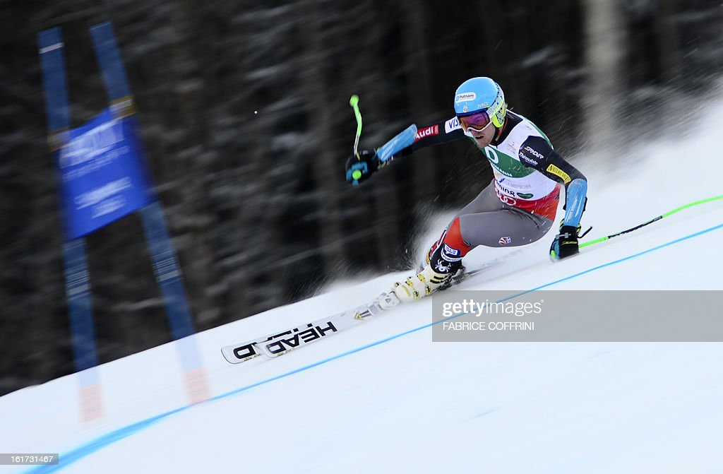 US Ted Ligety skis during the first run of the men's Giant slalom at the 2013 Ski World Championships in Schladming, Austria on February 15, 2013.
