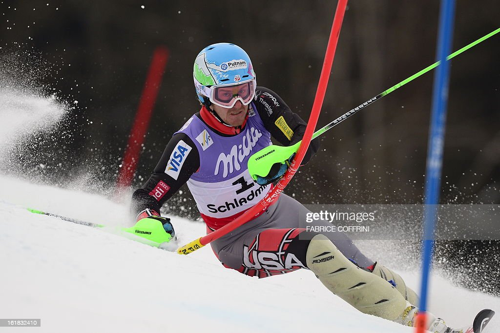 US Ted Ligety skis during the first run of the men's slalom at the 2013 Ski World Championships in Schladming, Austria on February 17, 2013.