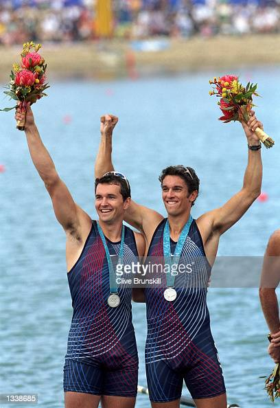 Ted Murphy and Sebastian Bea of the USA win the Silver Medal in the Men's Without Coxwain Pair Finals Event for the 2000 Sydney Olympics at the...