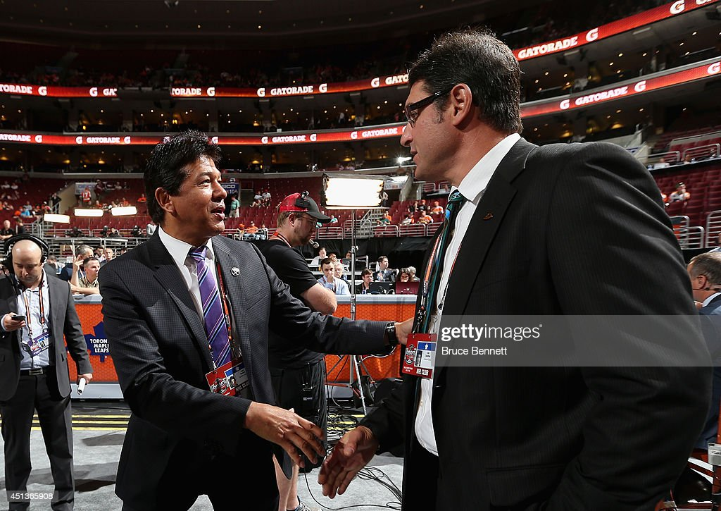 Ted Nolan (L), head coach of the Buffalo Sabres, is seen prior to the start of the first round of the 2014 NHL Draft at the Wells Fargo Center on June 27, 2014 in Philadelphia, Pennsylvania.