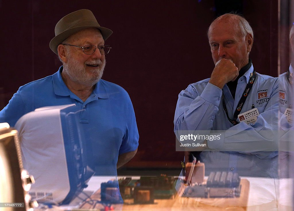 Ted Perry (L) stands next to his Apple-1 computer with Roy Mize (R) during the First Bytes: Iconic Technology From the Twentieth Century, an online auction featuring vintage tech products at the Computer History Museum on June 24, 2013 in Mountain View, California. Christie's is auctioning off an original Apple-1 computer owned by Ted Perry as part of its First Bytes: Iconic Technology from the Twentieth Century, an online auction of vintage tech products. The online auction begins today and runs through July 9. The Apple-1 is expected to fetch between $300,000 and $500,000.