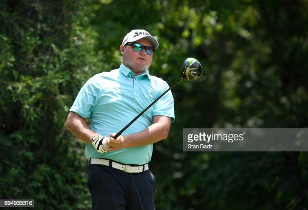 Ted Potter Jr hits a drive on the second hole during the final round of the Webcom Tour RustOleum Championship at Ivanhoe Club on June 11 2017 in...