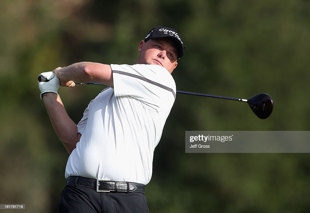 Ted Potter Jr. hits a shot during the second round of the Northern Trust Open at Riviera Country Club on February 15, 2013 in Pacific Palisades, California.