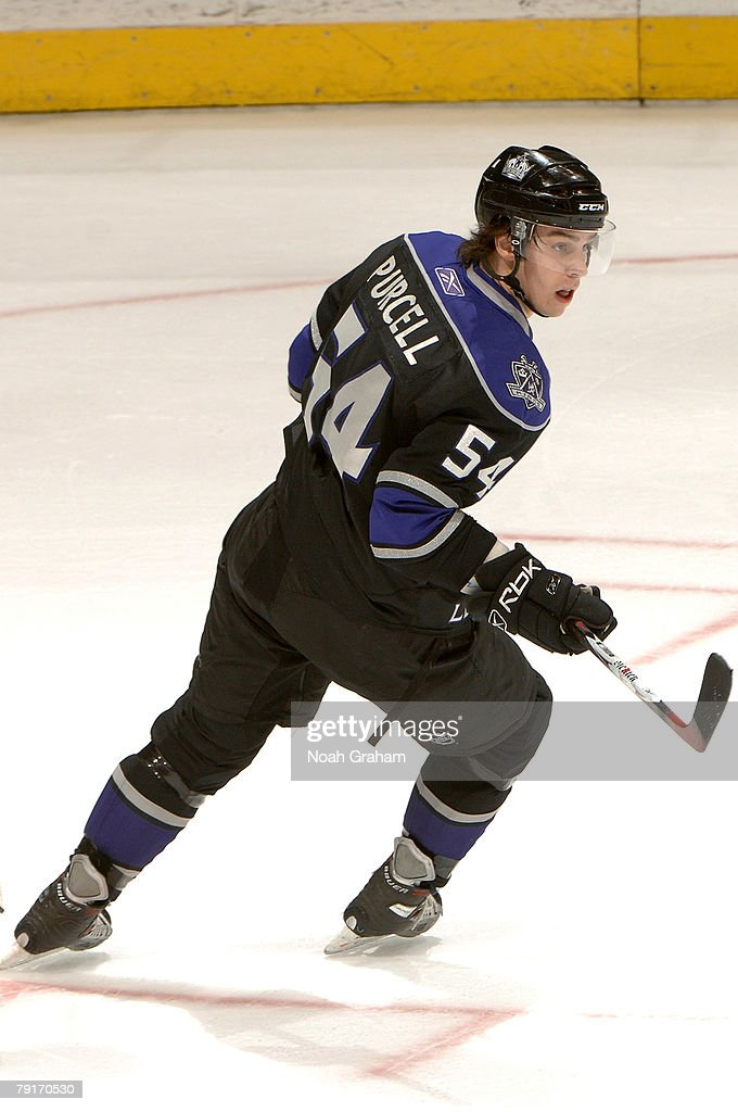 Ted Purcell #54 of the Los Angeles Kings skates against the Detroit Red Wings on January 22, 2008 at the Staples Center in Los Angeles, California