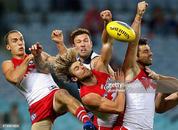 Ted Richards Dane Rampe and Heath Grundy of the Swans competes for the ball against Mitch Clark of the Cats during the round seven AFL match between...