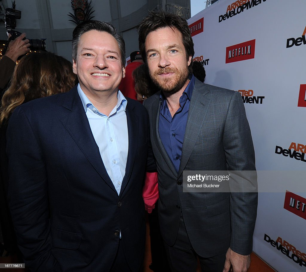 <a gi-track='captionPersonalityLinkClicked' href=/galleries/search?phrase=Ted+Sarandos&family=editorial&specificpeople=2137714 ng-click='$event.stopPropagation()'>Ted Sarandos</a>, Netflix Chief Content Officer, (L) and actor <a gi-track='captionPersonalityLinkClicked' href=/galleries/search?phrase=Jason+Bateman&family=editorial&specificpeople=204774 ng-click='$event.stopPropagation()'>Jason Bateman</a> arrive at the Los Angeles Premiere of Season 4 of Netflix's 'Arrested Development' at the TCL Chinese Theatre on April 29, 2013 in Hollywood, California.