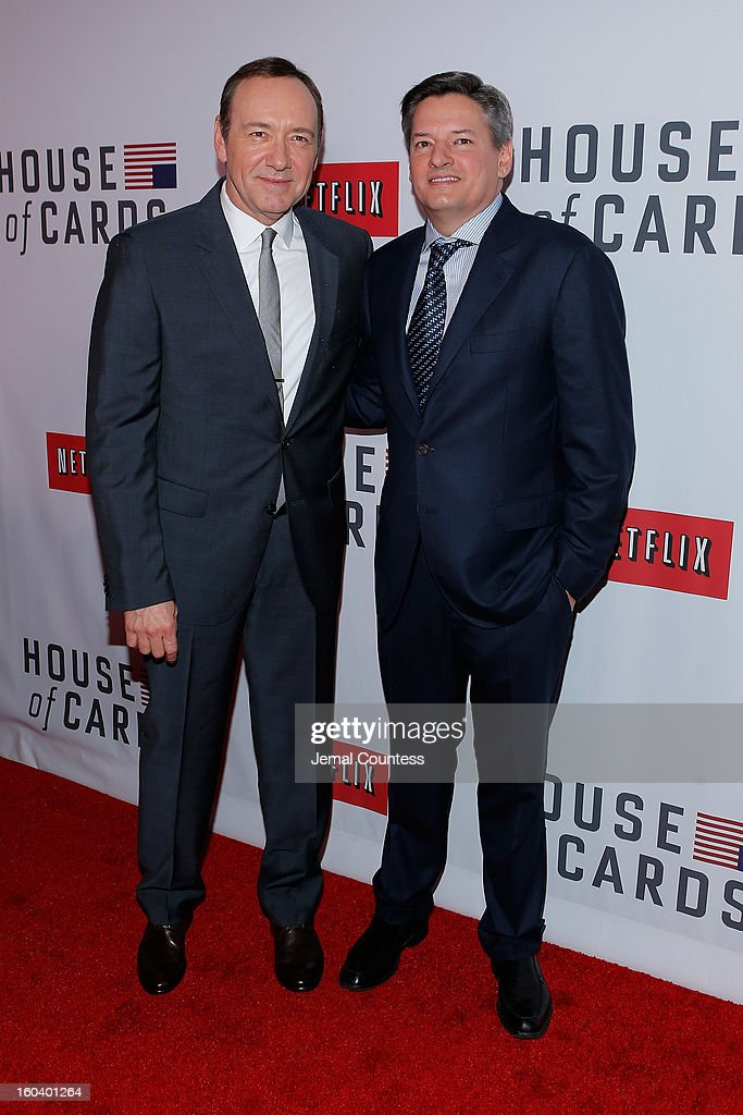 Ted Sarandos with <a gi-track='captionPersonalityLinkClicked' href=/galleries/search?phrase=Kevin+Spacey&family=editorial&specificpeople=202091 ng-click='$event.stopPropagation()'>Kevin Spacey</a> attends the Netflix's 'House Of Cards' New York Premiere at Alice Tully Hall on January 30, 2013 in New York City.