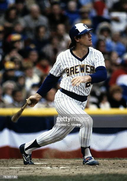 Ted Simmons of the Milwaukee Brewers batting during Game 4 of the 1982 World Series against the St Louis Cardinals on October 16 1982 in Milwaukee...