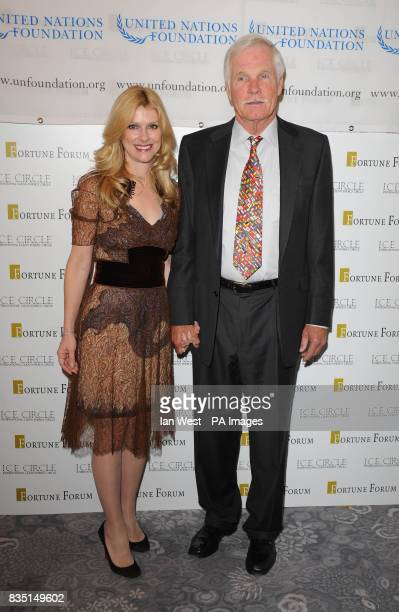 Ted Turner and his Elizabeth Dewberry arriving at the Fortune Forum Summit at the Dorchester Hotel in London