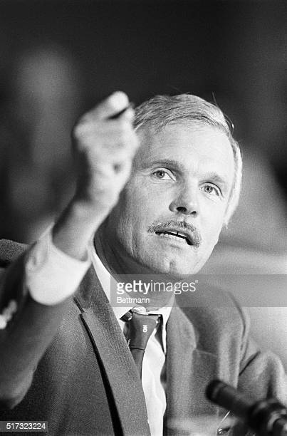 Ted Turner president of Cable News Network and chairman of the Better World Society speaks before the Committee on Energy and Environment at the...