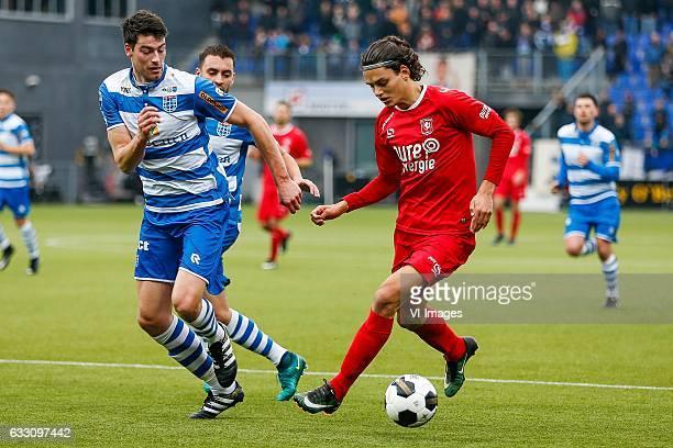 Ted van de Pavert of PEC Zwolle Bram van Polen of PEC Zwolle Enes Unal of FC Twenteduring the Dutch Eredivisie match between PEC Zwolle and FC Twente...