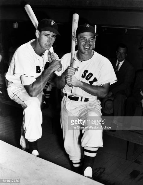 Ted Williams and Vern Stephens of the Boston Red Sox pose for a portrait circa 1950