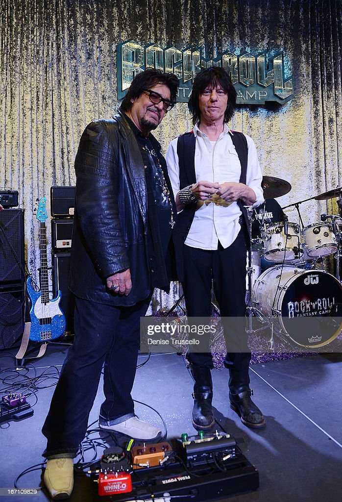 Teddy Andreadis and <a gi-track='captionPersonalityLinkClicked' href=/galleries/search?phrase=Jeff+Beck&family=editorial&specificpeople=213341 ng-click='$event.stopPropagation()'>Jeff Beck</a> attend Rock 'n' Roll Fantasy Camp on April 20, 2013 in Las Vegas, Nevada.