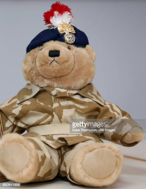 A teddy bear bought by murdered soldier Lee Rigby for his son Jack at a press conference at the Regimental HQ of his unit the Royal Regiment of...