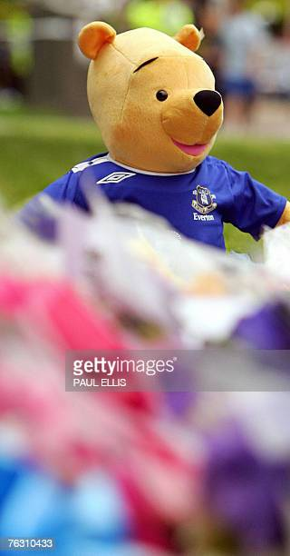 A teddy bear dressed in an Everton football club shirt is pictured amongst floral tributes to murdered 11 yearold Rhys Jones outside the Fir Tree...