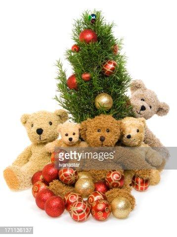 teddy bear family with christmas tree stock photo getty images - Bear Christmas Tree
