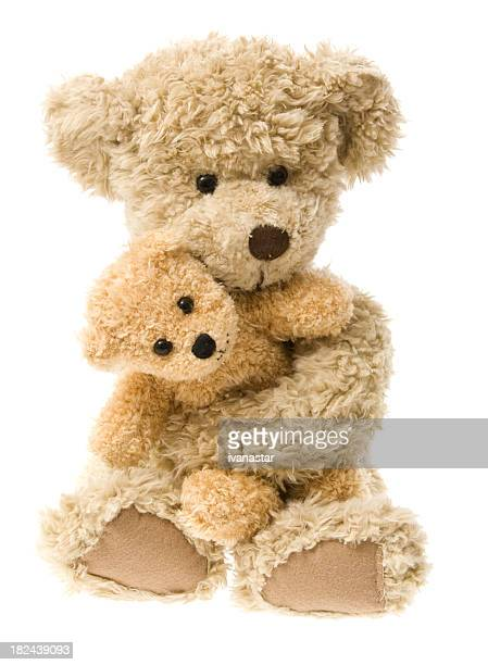 Teddy Bear Hug Isolated on White