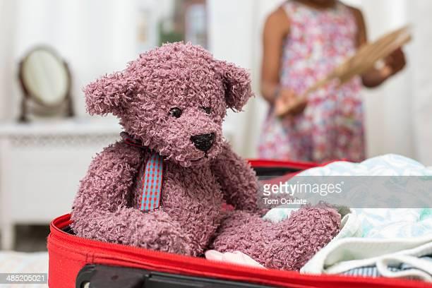 Teddy bear in open suitcase