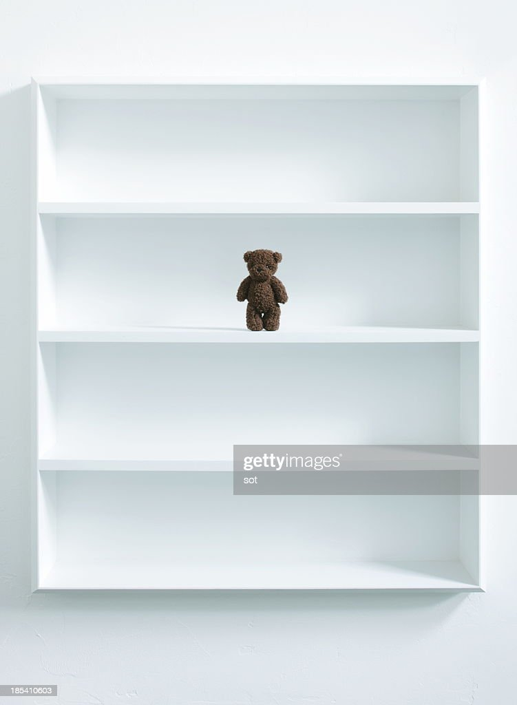 A teddy bear in white bookshelf