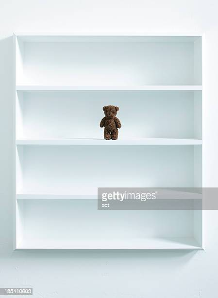 A teddy bear in white bookshelf