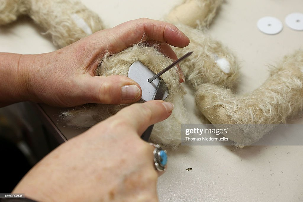 A teddy bear is assembled at the Steiff stuffed toy factory on November 23, 2012 in Giengen an der Brenz, Germany. Founded by seamstress Margarethe Steiff in 1880, Steiff has been making stuffed teddy bears since the early 20th century ever since her nephew Richard Steiff exhibited the first commercially produced teddy bear in Europe in 1903. Teddy bears are among the most popular children's toys and the company is hoping for a strong Christmas season.
