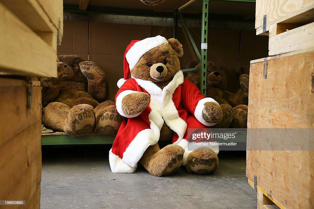 A teddy bear is dressed in a Santa Claus costume at the Steiff stuffed toy factory on November 23, 2012 in Giengen an der Brenz, Germany. Founded by seamstress Margarethe Steiff in 1880, Steiff has been making stuffed teddy bears since the early 20th century ever since her nephew Richard Steiff exhibited the first commercially produced teddy bear in Europe in 1903. Teddy bears are among the most popular children's toys and the company is hoping for a strong Christmas season.