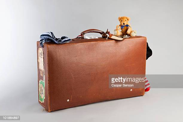 A teddy bear on top of an old suitcase