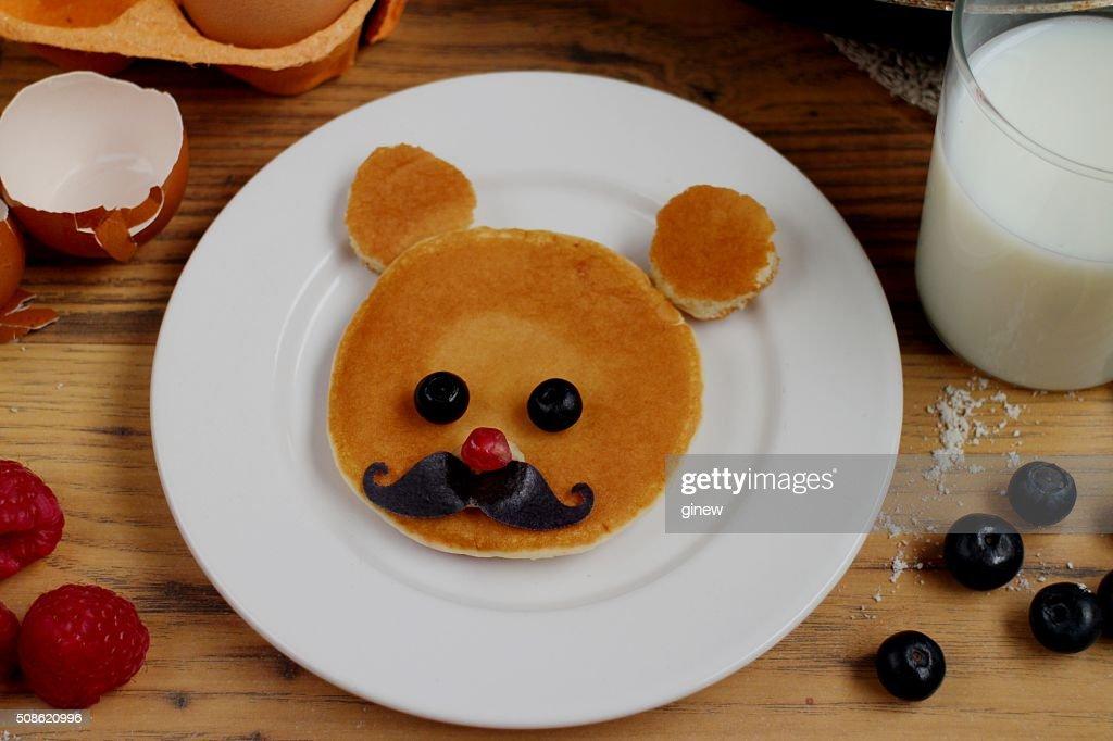 Teddy bear pancake kids breakfast : Stock Photo