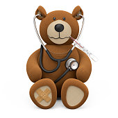 Teddy bear with stethoscope, plaster and thermometer isolated on white background 3D rendering