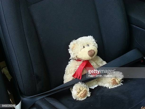 Teddy Bear Sitting On Car Seat With Belt Buckled