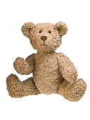 A brown teddy bear on a white background