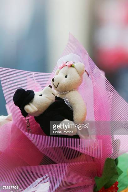 A teddy bear toy a gift for St Valentine's Day is seen on February 14 2007 in Changchun of Jilin Province China Valentines Day is a traditional boon...