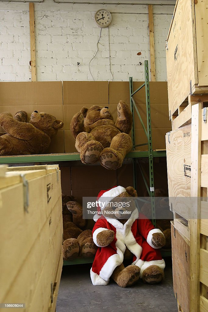 A teddy bear wears a Santa Claus costume at the Steiff stuffed toy factory on November 23, 2012 in Giengen an der Brenz, Germany. Founded by seamstress Margarethe Steiff in 1880, Steiff has been making stuffed teddy bears since the early 20th century ever since her nephew Richard Steiff exhibited the first commercially produced teddy bear in Europe in 1903. Teddy bears are among the most popular children's toys and the company is hoping for a strong Christmas season.