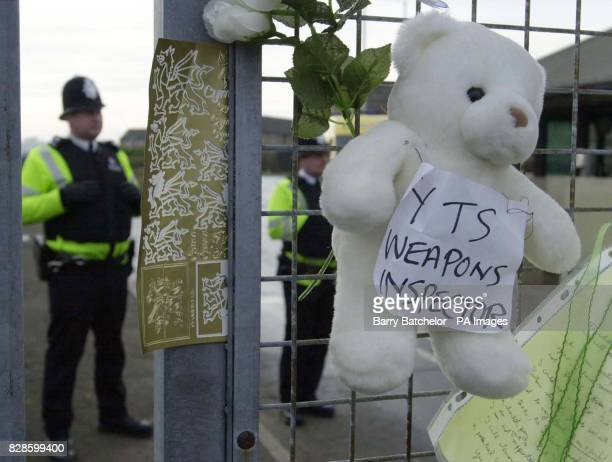 Teddy bear with a sign 'YTS Weapons Inspector' attached at the main entrance of the US air base at RAF Fairford Gloucestershire Over 1000 protesters...